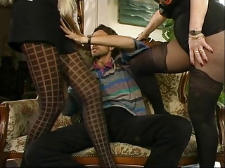 MFF Steve got involve in the matter of team a few hot MILFs in pantyhose