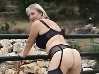 Blonde Nurturer Masturbating Outdoors