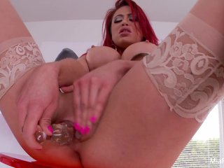 Mia Lelani spits on & fucks her glass plaything