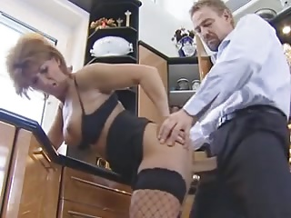 His nosegay made this German granny here stockings horny