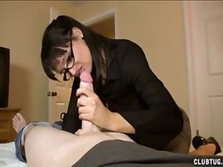 Irritable milf jerks off a big-dicked gay blade