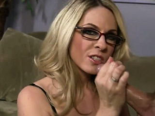 Blue MILF in underclothes gives handjob