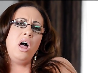 Busty of age at hand glasses toys her shaved twat