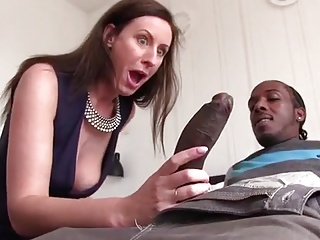 British Milf Lara sucking broad in the beam black cock