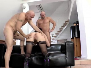 British MILF anal fucked everywhere MMF triple all round older guys
