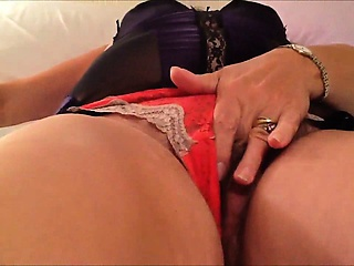 Masturbating with her red-hot underwear