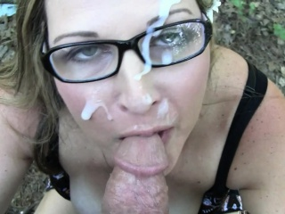 Cute Nerdy Wife Sucks Horseshit together with takes a Mean Facial