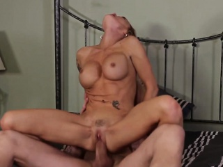 Throatfucked busty babe pleasing old man