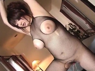 Sakura in fishnets gets obese chest groped and pussy play