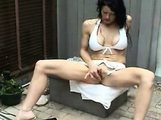 Carved MILF squirts and masturbates