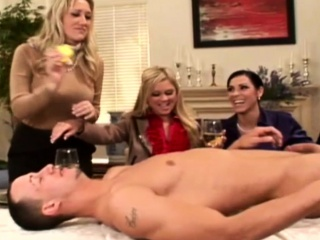 Swanky femdoms cockriding in cfnm manipulate