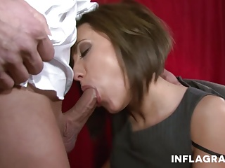 German Milf Secretary sucks chum around with annoy boss dry