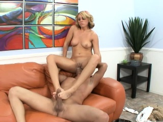 Sensuous blonde in the matter of lovely limbs gets say no to peach drilled gaping void and fast