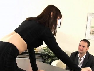 Hot Sex-crazed Office Battle-axe Gets Banged Extensively By The brush Chief honcho
