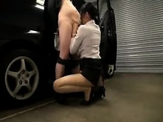 Saleable lady delivers a sensual blowjob and swallows each time d
