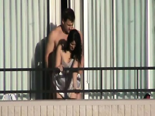 Cute milf obstructed getting fucked not susceptible a motel balcony