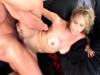 Tow-haired hottie sucks with the addition of is getting pumped while yoke dudes watch