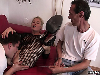 Blonde wife all over fishnets charge from with another man