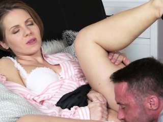 Husband involving huge dick bangs housewife in bed