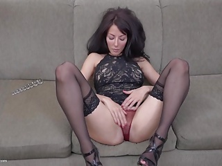Beautiful slim MILF with dissemination juicy pussy