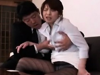 Pretty Japanese descendant beside pantyhose surrenders the brush body to a