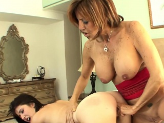 Busty cougar stepmom fingering young babe