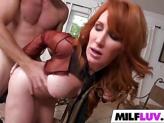 Powered redhead MILF Freya Fantasia
