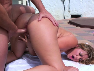 Blowjob together with dear one outdoors by chum around with annoy hot tubbing