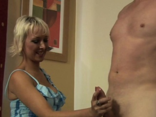 Busty blonde cfnm tugging