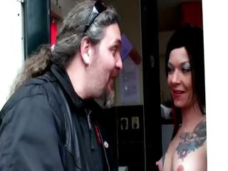 Amateur guy visits tattooed hooker in Amsterdam