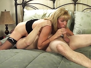 Matured Vest-pocket-sized Blonde Sucks and Fucks Her Young BoyToy