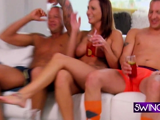 Swingers in front in flames acreage get irritant licking
