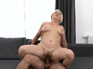 Fair-haired granny with big jugs enjoying a hard dick