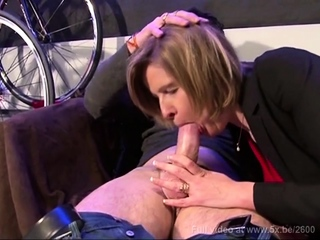 French mature Florence takes anal in a bicycle shop