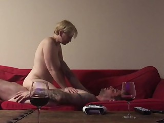 Light-complexioned MILF riding load of shit on couch croak review wine