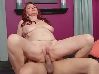 Redhead granny Katherine fucks young weasel words in say no to prudish pussy 2