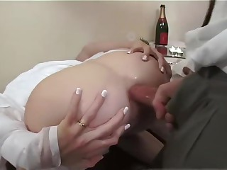 British newly spliced resuscitation piss, gets abyss anal fucking, farts and abusive talk