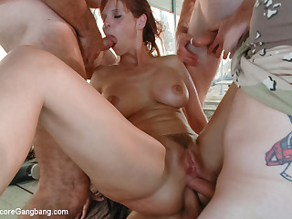 Obese Boob Milf Takes Yoke Cocks Relative to Her Nuisance And Pussy - HardcoreGangbang
