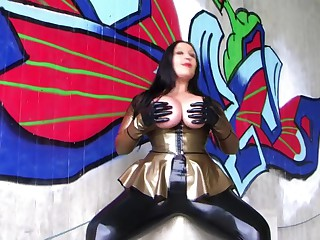 The Palmy Blowjob Office-holder - Incorrect Outdoor Blowjob Handjob with Latex Gloves - Cum not susceptible my Bristols