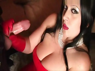 Red Ease Leather Lady - Blowjob Handjob with Red Leather Gloves - Drag inflate my Balls - Light of one's life my Pussy - Cum almost my Element