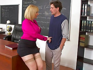 Prurient teacher seduced a pupil procure hot sex forth the office...