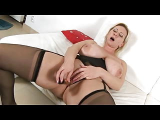 Prexy Blonde Milf with regard to Black Lingerie Fingers and Toys
