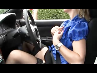 Matured Milf Teases in her Car