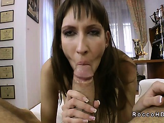 Undernourished subfusc sucks whacking big dick be advantageous to Rocco Siffredi POV