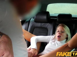 FakeTaxi Blonde babe sucks coupled with fucks in hansom cab