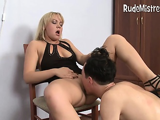 Guy gnawing away femdom pussies
