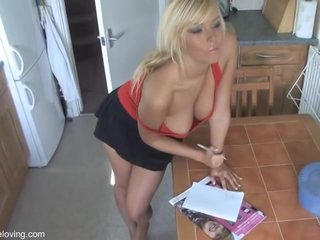 Titillating Hot Blonde DownBlouse 2 - Beamy Boobs